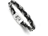 Chisel Stainless Steel Polished Genuine Leather Braided Bracelet style: SRB1746825