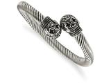 Chisel Stainless Steel Antiqued And Polished Skull Cuff Bangle style: SRB1764