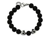 Chisel Stainless Steel Polished And Antiqued W/ Black Onyx Skull Bracelet style: SRB177275