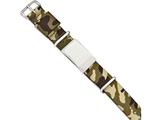 Chisel Stainless Steel Polished Brown Camo Fabric Adjustable Id Bracelet style: SRB1779
