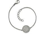 Chisel Stainless Steel Polished W/ Preciosa Crystal Circle W/1 Inch Ext. Bracelet style: SRB19717