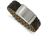 Chisel Stainless Steel Brushed Brown Leather Bracelet style: SRB19739