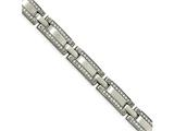 Chisel Stainless Steel Brushed CZ 8.50in Link Bracelet style: SRB197785