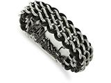 Chisel Stainless Steel Polished Black Leather Bracelet style: SRB1980875