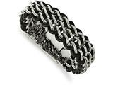 Chisel Stainless Steel Polished Black Leather Bracelet style: SRB1980875