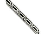 Chisel Stainless Steel Polished Black Enamel Link Bracelet style: SRB198785