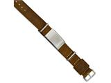<b>Engravable</b> Chisel Stainless Steel Polished Brown Leather Adj. Id Bracelet style: SRB1996