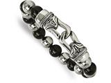 Chisel Stainless Steel Polished Antiqued Black Agate Stretch Bracelet style: SRB2020