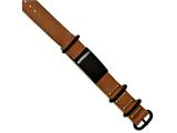 Chisel Stainless Steel Brushed Black Ip Brown Leather Adj. Id Bracelet style: SRB2024