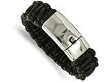 Chisel Stainless Steel Polished Rounded Braided Black Leather Bracelet style: SRB203085