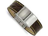 Chisel Stainless Steel Polished Brown Leather/yellow Stitch Id Bracelet style: SRB203285