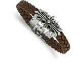 Chisel Stainless Steel Polished Antiqued Brown Leather Filigree Bracelet style: SRB203585