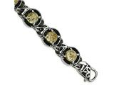 Chisel Stainless Steel Polished Antiqued Epoxy Resin W/gold Tin Bracelet style: SRB20369