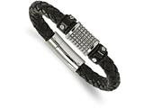 Chisel Stainless Steel Polished Black Ip Blk Leather Blk Rubber Bracelet style: SRB204185