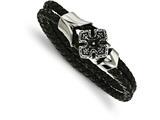 Chisel Stainless Steel Polished Black Ip Braided Black Leather CZ Bracelet style: SRB20468