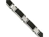 Chisel Stainless Steel Brushed Black Ip Textured Link W/.50in Ext. Bracelet style: SRB20478
