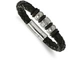 Chisel Stainless Steel Brushed/polished Blk Leather Blk Ip Blk Rubber Bracelet style: SRB206185