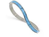 Chisel Stainless Steel Polished Imitation Turquoise Hinged Bangle style: SRB2079