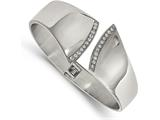 Chisel Stainless Steel Polished With Cz Hinged Bangle style: SRB2083