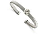 Chisel Stainless Steel Polished Flexible Four Leaf Clover Bangle style: SRB2084