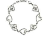 Chisel Stainless Steel Polished CZ Heart  W/1in Ext. Bracelet style: SRB21107