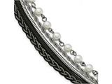 Chisel Stainless Steel Polished Sim. Pearls Faux Leather W/ 1in Ext. Bracelet style: SRB21147