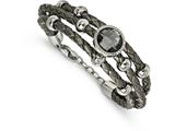 Chisel Stainless Steel Polished Grey Faux Leather and Glass .75in Ext Bracelet style: SRB21157