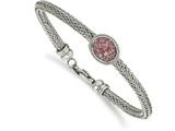 Chisel Stainless Steel Polished And Textured Pink Crystal Bracelet style: SRB212475