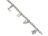 Chisel Stainless Steel Polished And Textured Love Charm Bracelet style: SRB2135825