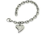 Chisel Stainless Steel CZ Heart Charm Fancy 7.5in Bracelet style: SRB26375