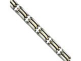 Chisel Stainless Steel and 14k Bright Cut 8.5in Bracelet style: SRB41185