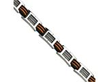 Chisel Stainless Steel Black and Orange Polyurethane 8.5in Bracelet style: SRB47285