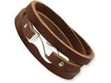 Chisel Stainless Steel Brown Leather Wrap Bracelet style: SRB52824