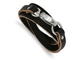 Chisel Stainless Steel Black Leather Wrap Bracelet style: SRB53125