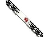 Chisel Stainless Steel Black Rubber Red Enamel 8.25in Medical Bracelet style: SRB548825