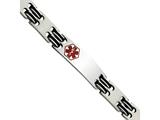 Chisel Stainless Steel Black Rubber Red Enamel 8.25in Medical Bracelet style: SRB550825