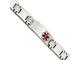 <b>Engravable</b> Chisel Stainless Steel Polished/brushed Red Enamel 8.25in Medical Bracelet style: SRB553825