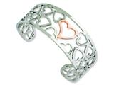 Chisel Stainless Steel Polished and Pink Ip-plated Hearts Cuff Bangle style: SRB593