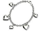 Chisel Stainless Steel Polished Hearts 8in Bracelet style: SRB5948