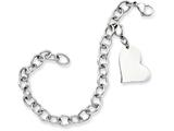 <b>Engravable</b> Chisel Stainless Steel Heart Charm 8in Bracelet style: SRB7888