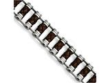 Chisel Stainless Steel Brown Leather 8.75in Bracelet style: SRB910875