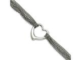 Chisel Stainless Steel Multi-row Chain With Heart Toggle Bracelet style: SRB95475