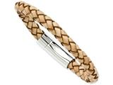 Chisel Stainless Steel Light Tan Leather 8.5in Bracelet style: SRB97885