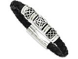 Chisel Stainless Steel Black Leather W/ Antiqued Beads 8.5in Bracelet style: SRB98085