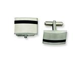 <b>Engravable</b> Chisel Stainless Steel Black Accent Cuff Links style: SRC143