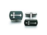Chisel Stainless Steel Brushed Black Ip-plated With Polished Cross Cuff Links style: SRC195