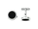 <b>Engravable</b> Chisel Stainless Steel Black Ip-plated Circle Cuff Links style: SRC221