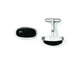 Chisel Stainless Steel Black Agate Polished Cuff Links style: SRC227