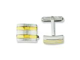 Chisel Stainless Steel Yellow Ip-plated and Polished Cuff Links style: SRC231