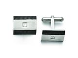 Chisel Stainless Steel Brushed And Polished Black Ip-plated Cz Cuff Links style: SRC252